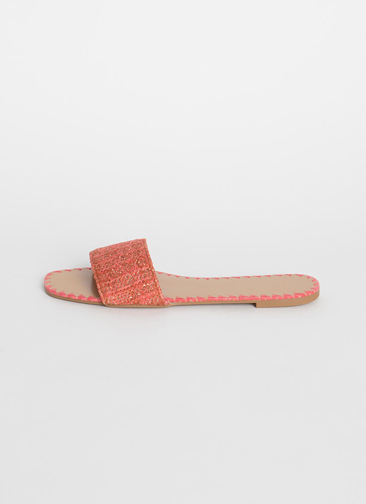 Take Me Woven Tapestry Slide Sandals CORAL