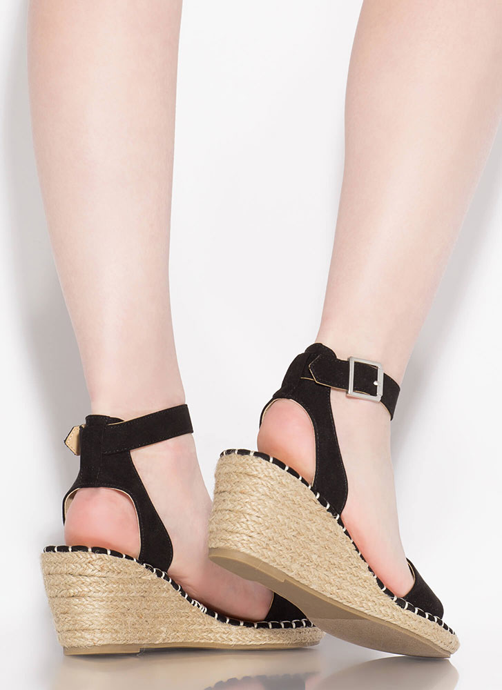 Take A Vacation Espadrille Wedges BLACK