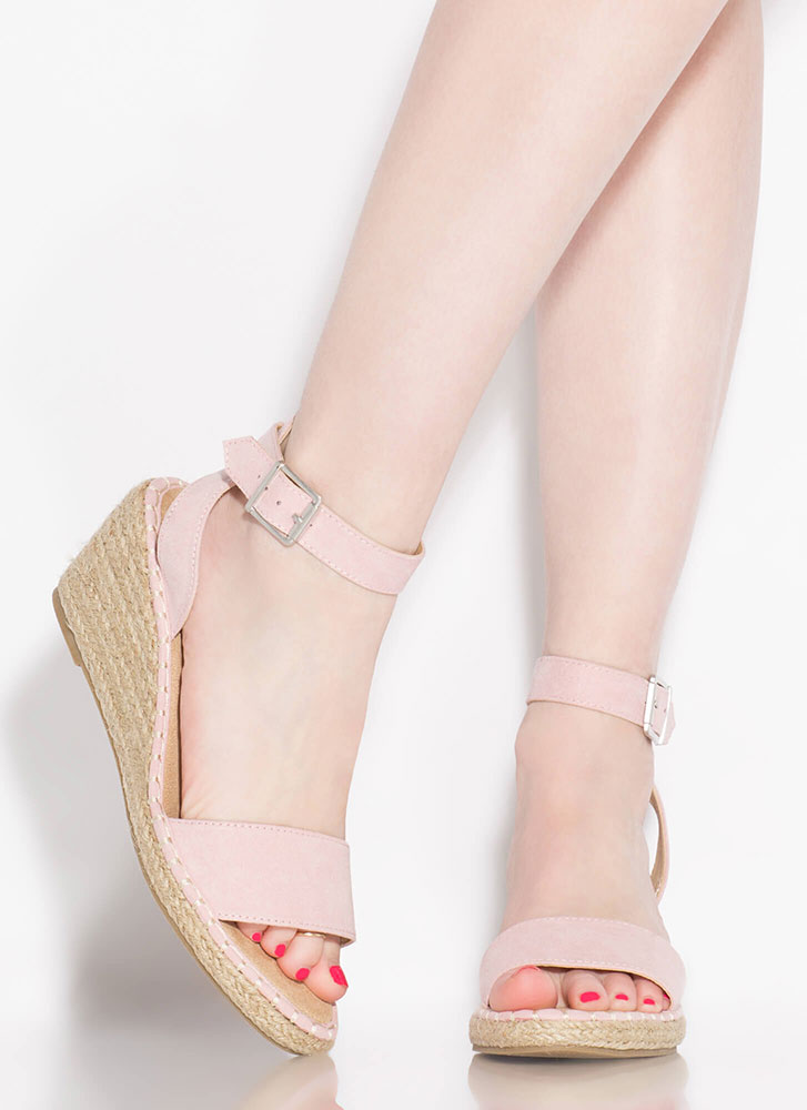 Take A Vacation Espadrille Wedges BLUSH