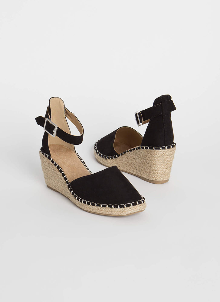 Vacay Ready Stitched Espadrille Wedges BLACK