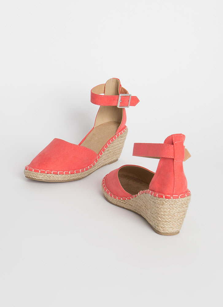 Vacay Ready Stitched Espadrille Wedges CORAL