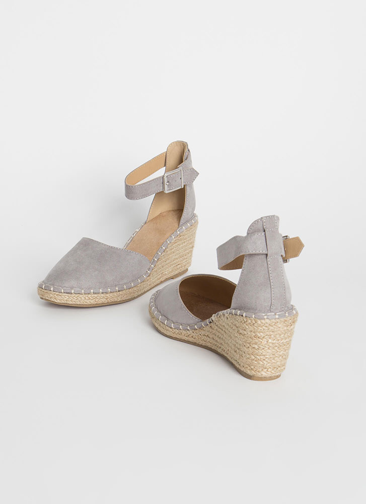 Vacay Ready Stitched Espadrille Wedges GREY