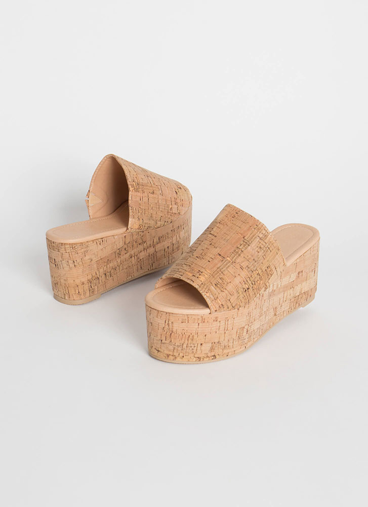 Put A Cork On It Thick Platform Wedges NATURAL