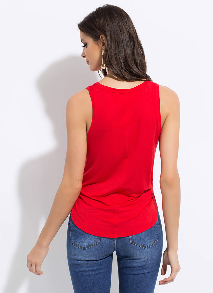 Wear Your Heart On Your Graphic Tank Top RED
