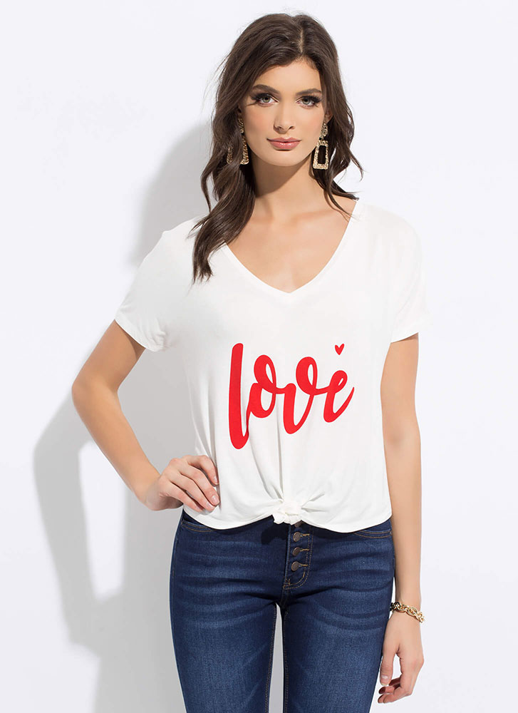 Love In My Heart Knotted Graphic Tee WHITE
