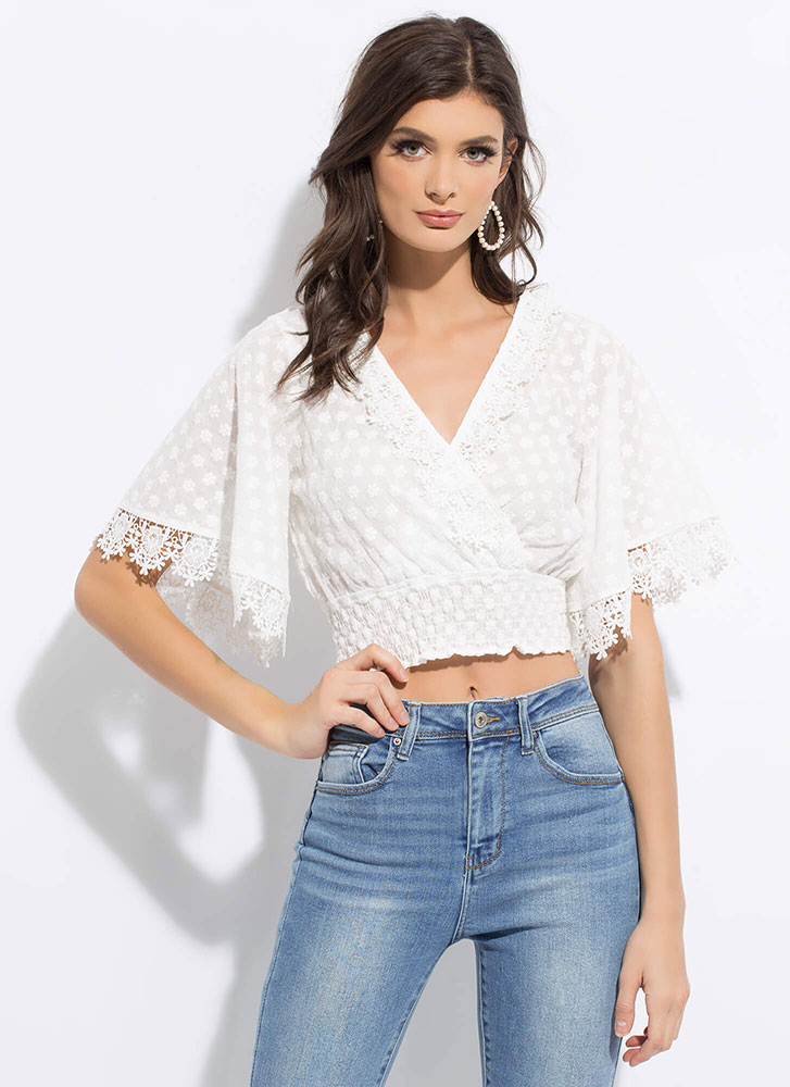 Fresh Florals Embroidered Cropped Blouse WHITE
