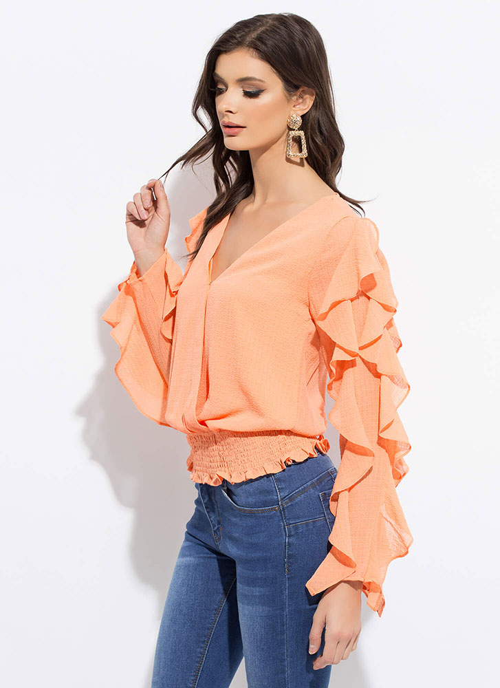 Ruffle All The Way Frilly Blouse ORANGE