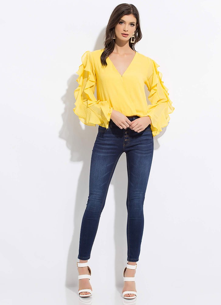 Ruffle All The Way Frilly Blouse YELLOW