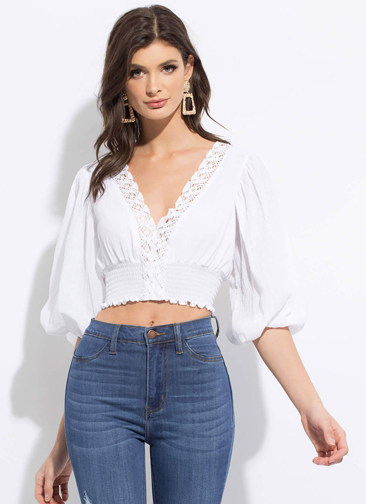 Big Romance Lacy Puff Sleeve Crop Top WHITE