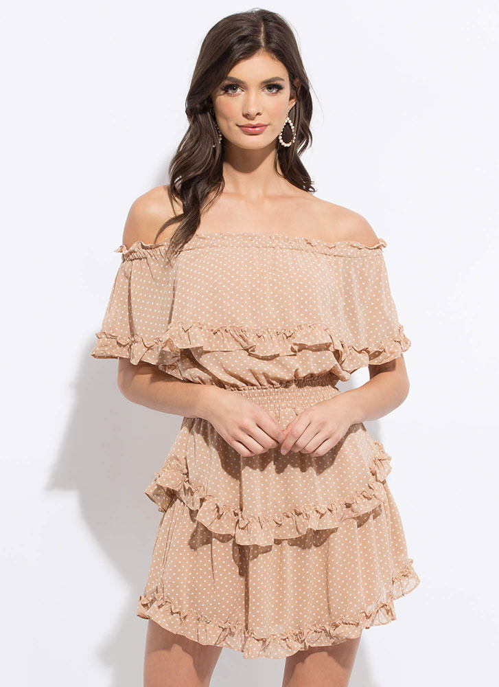 Pretty In Polka Dot Ruffled Tiered Dress TAUPE