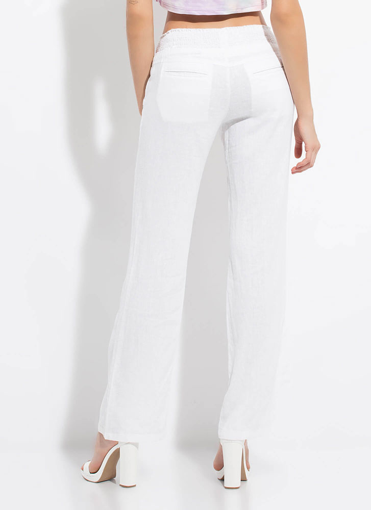 Cool Comfort Low-Rise Wide-Leg Trousers WHITE