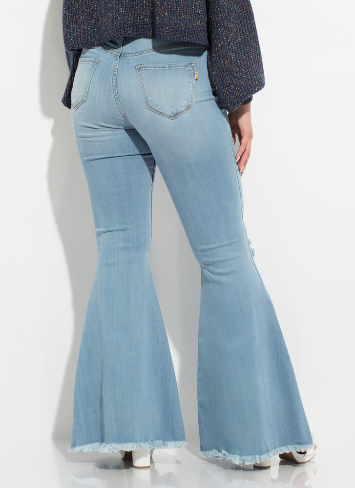 Flare Game Distressed Bell-Bottom Jeans LTSTONE