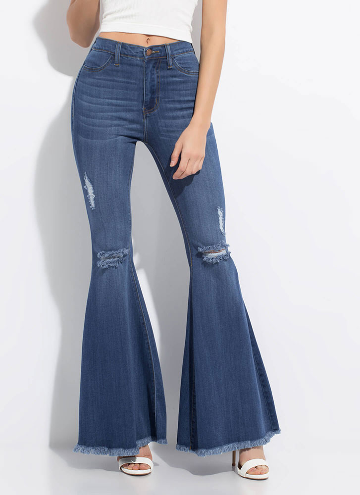 Flare Game Distressed Bell-Bottom Jeans MEDSTONE