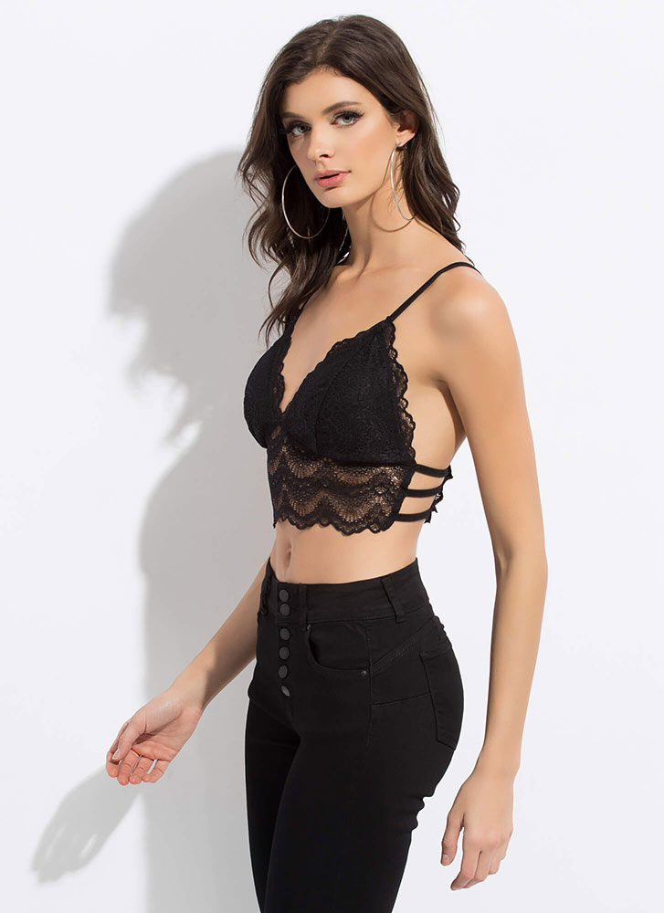 Lesson In Lace Scalloped Bralette Top BLACK