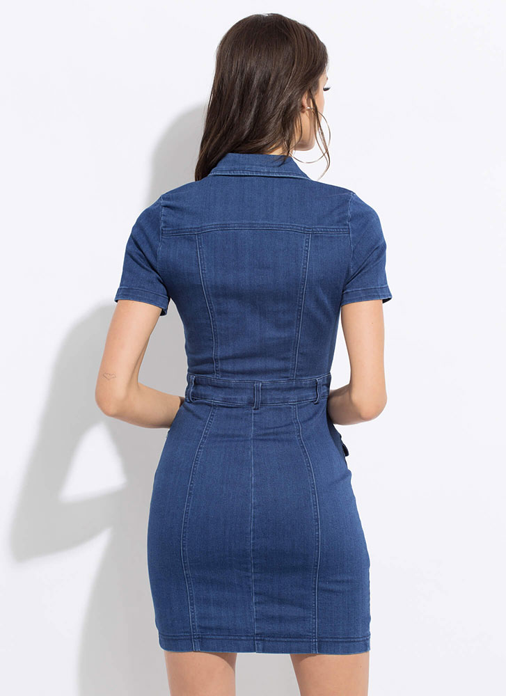 Denim On The Daily Button-Up Dress DKBLUE