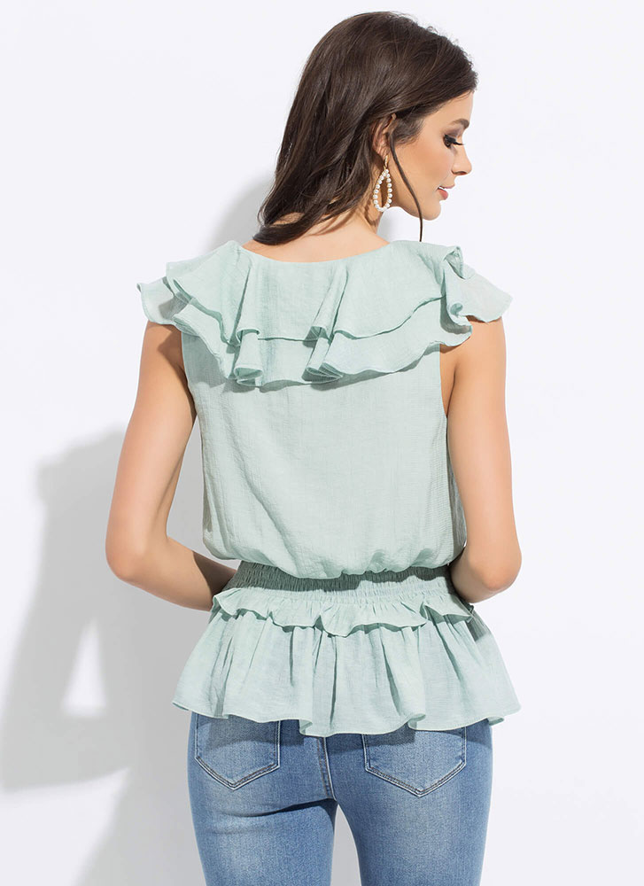 Flirty And Frilly Ruffled Peplum Top SAGE