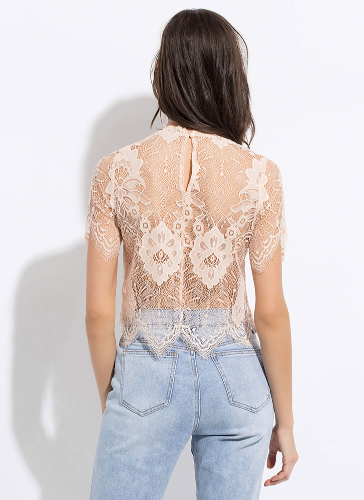 Nothing But Lace Sheer Scalloped Top ROSE