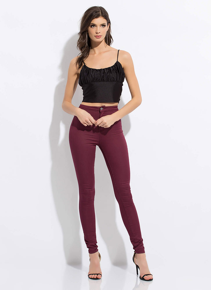 Glamorous Gathering Cropped Tank Top BLACK