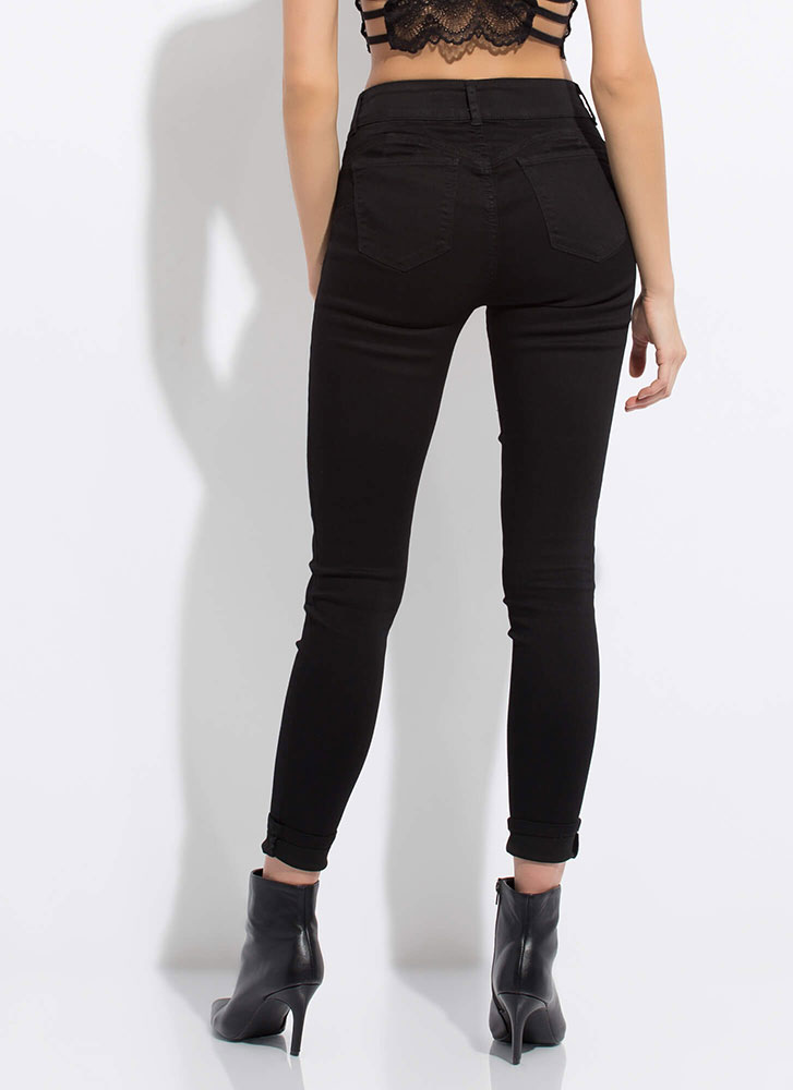 No Buts Button-Fly Butt-Lift Jeans BLACK
