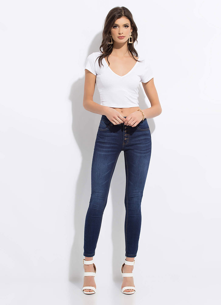 No Buts Button-Fly Butt-Lift Jeans DKBLUE