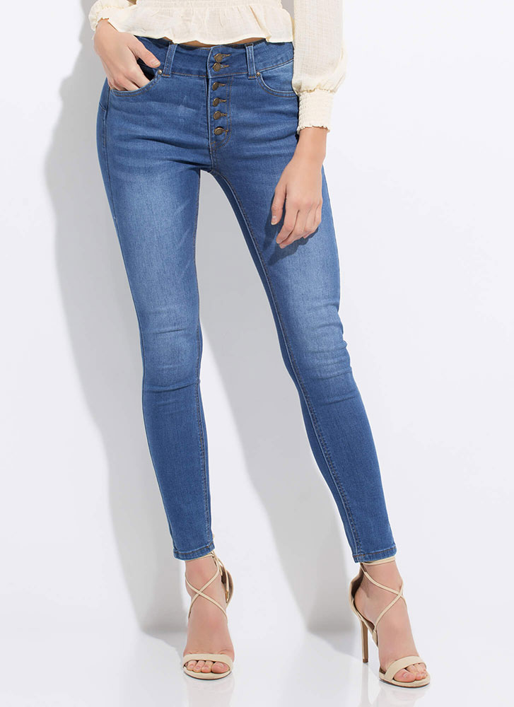 No Buts Button-Fly Butt-Lift Jeans MEDBLUE