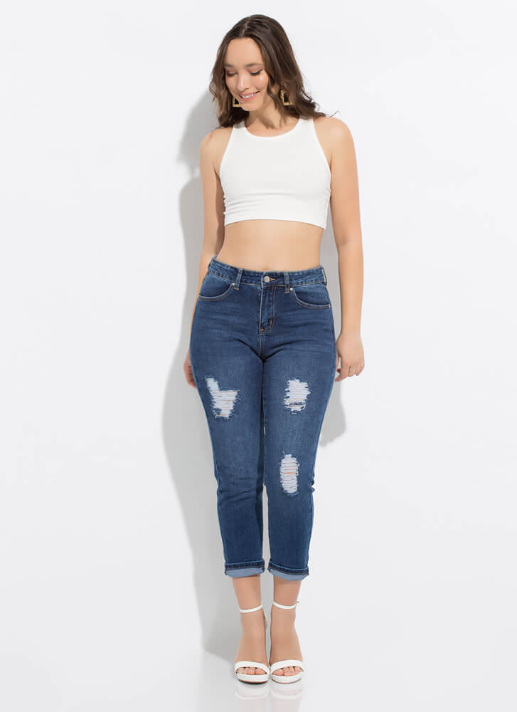 Thanks Mom Cropped Girlfriend Jeans DKBLUE