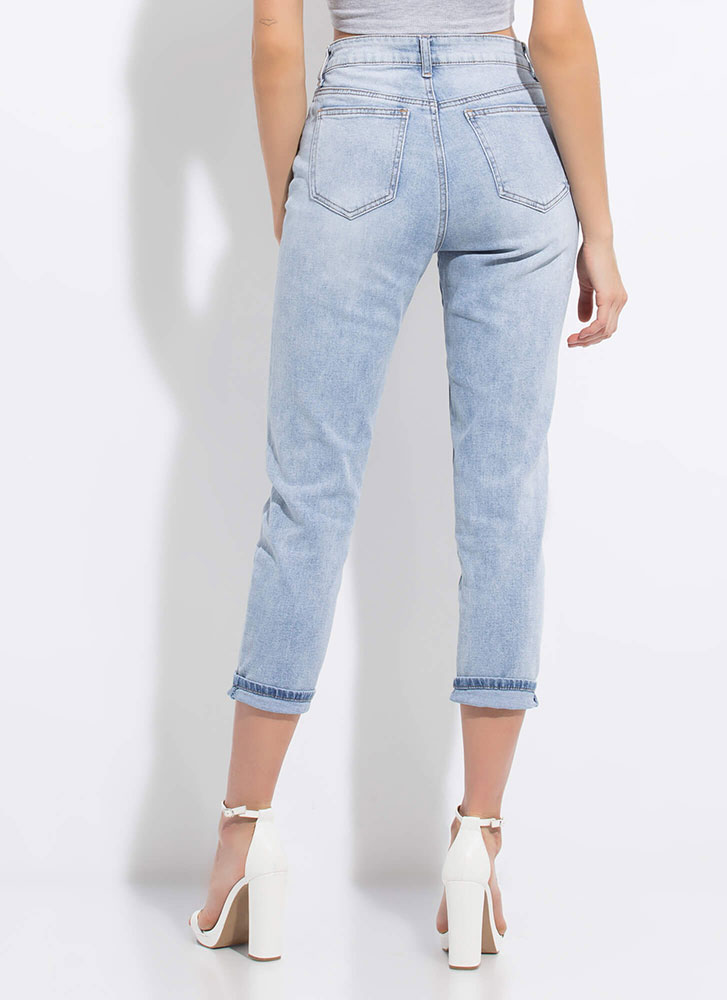 Thanks Mom Cropped Girlfriend Jeans LTBLUE