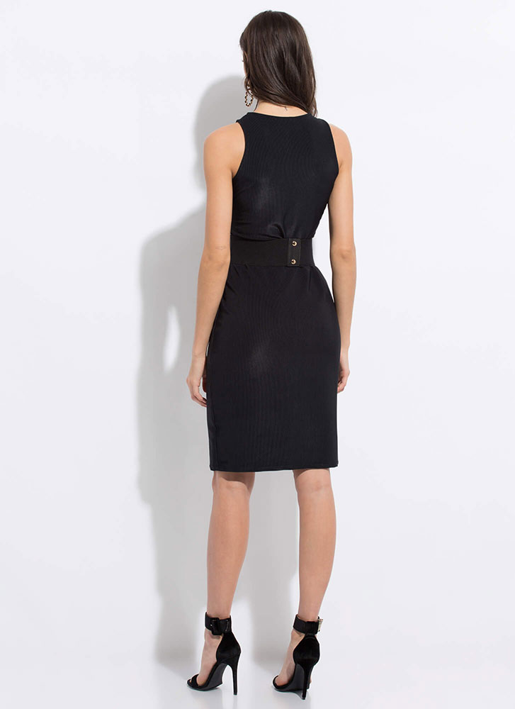 Beautiful Basic Ribbed Midi Dress BLACK
