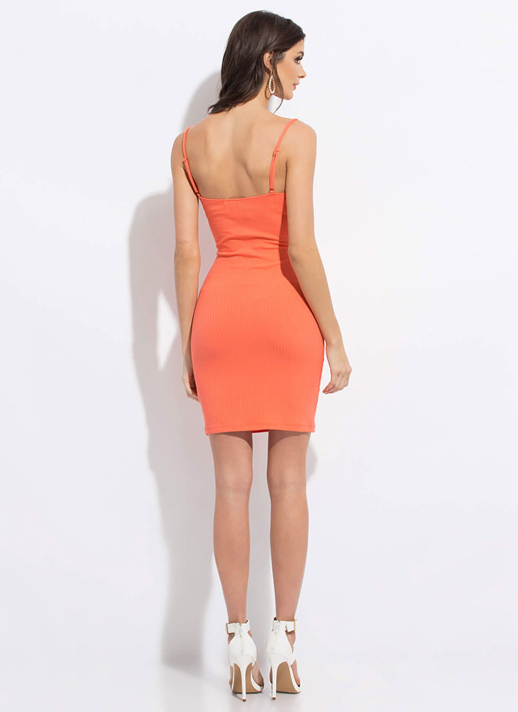 I Want One Two Cut-Out Midi Dress CORAL