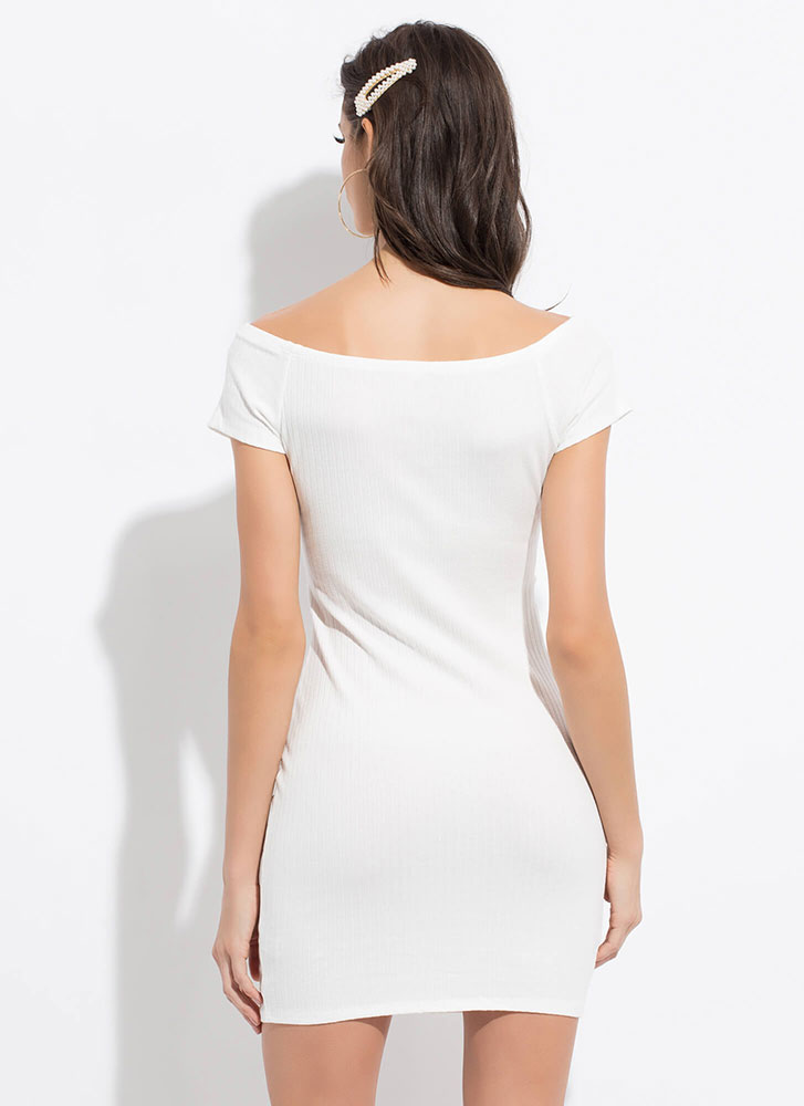 Cute Cut-Out Button-Front Minidress WHITE