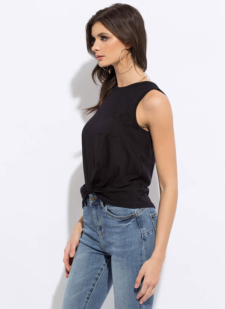 Basic With A Twist Knotted Hem Tank Top BLACK