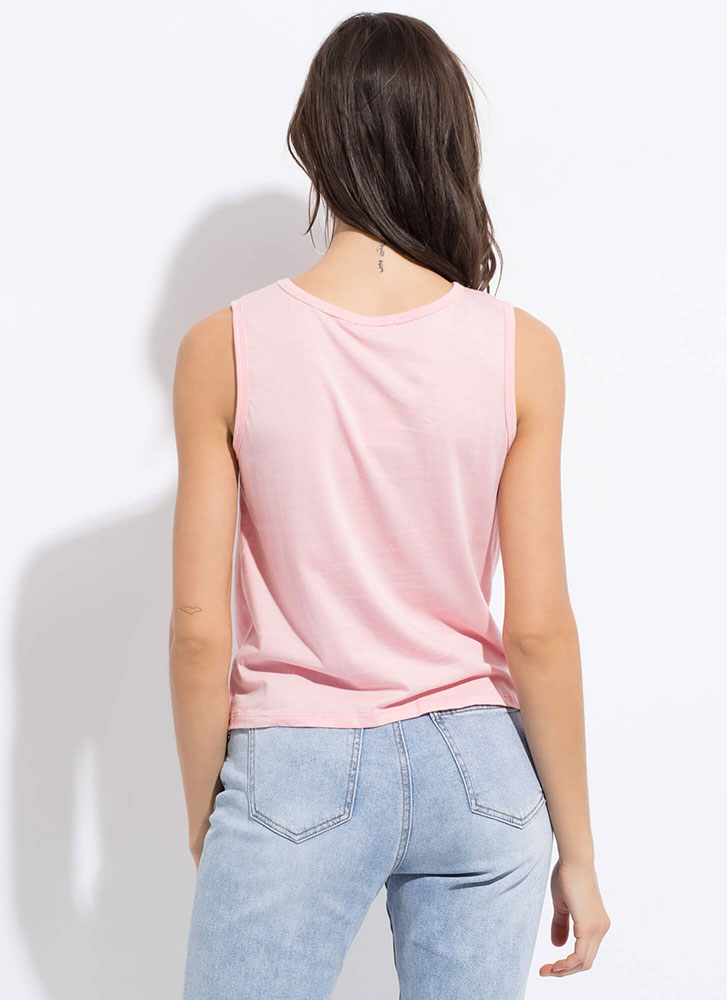Basic With A Twist Knotted Hem Tank Top ROSE