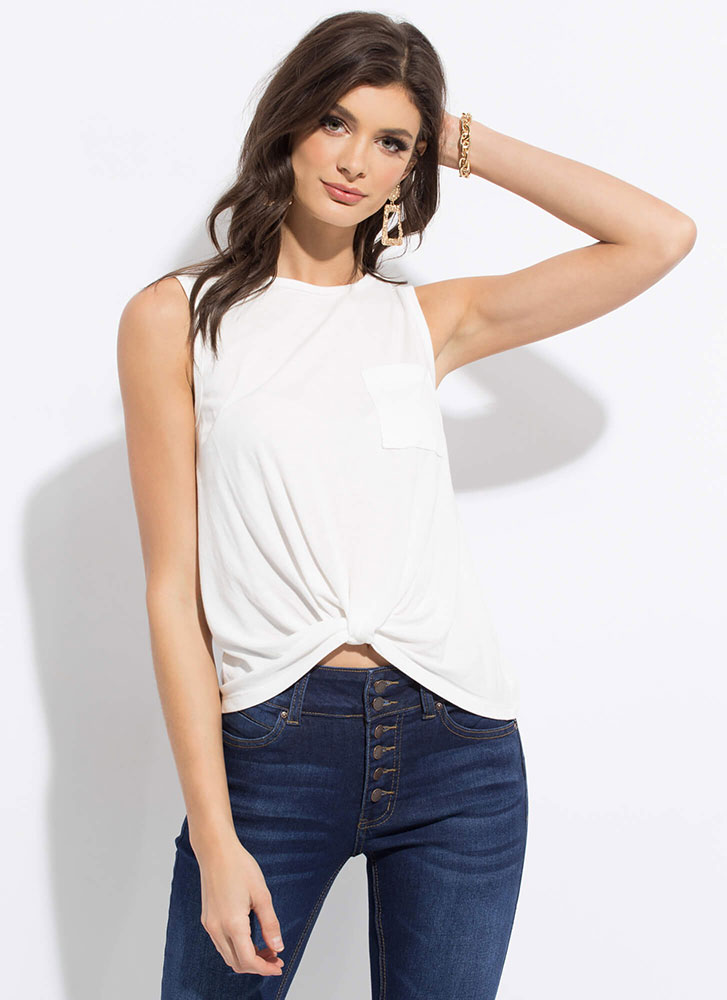 Basic With A Twist Knotted Hem Tank Top WHITE