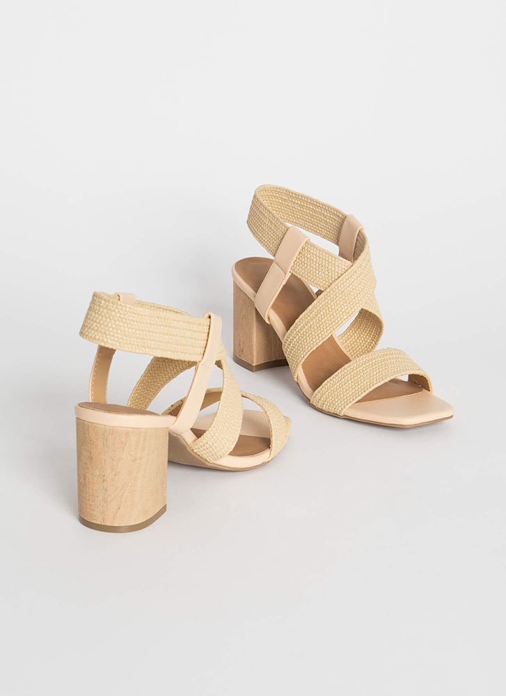 Yes I Wood Woven Strap Caged Heels NATURAL