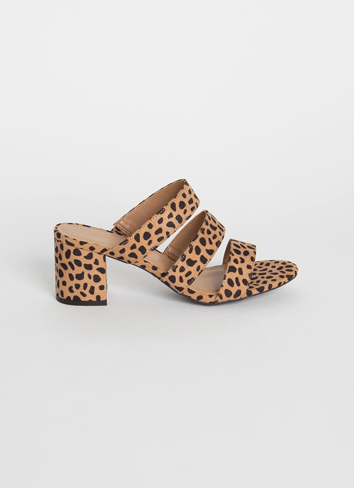 Spotted In The Wild 3-Strap Block Heels CHEETAH