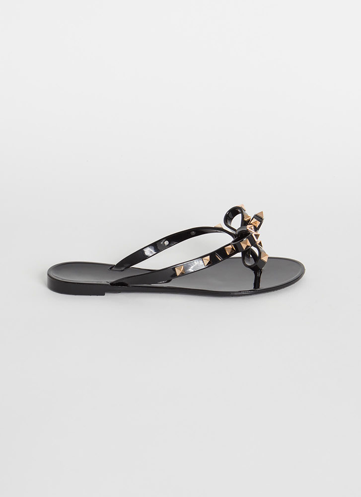 You Bow Girl Studded Jelly Thong Sandals BLACK