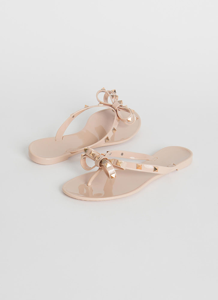 You Bow Girl Studded Jelly Thong Sandals NUDE