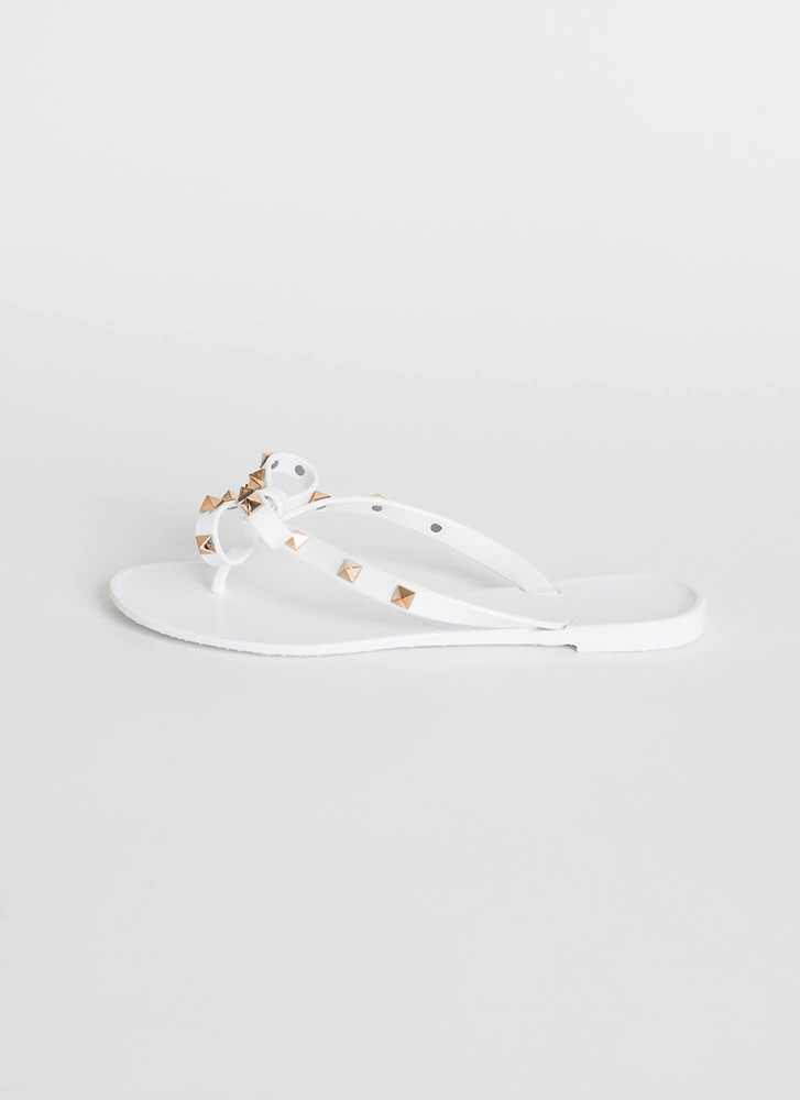 You Bow Girl Studded Jelly Thong Sandals WHITE
