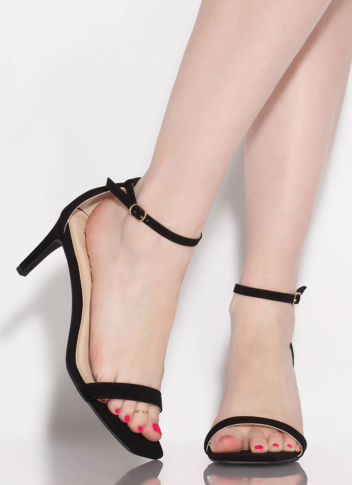 Perfect Faux Nubuck Ankle Strap Heels BLACK