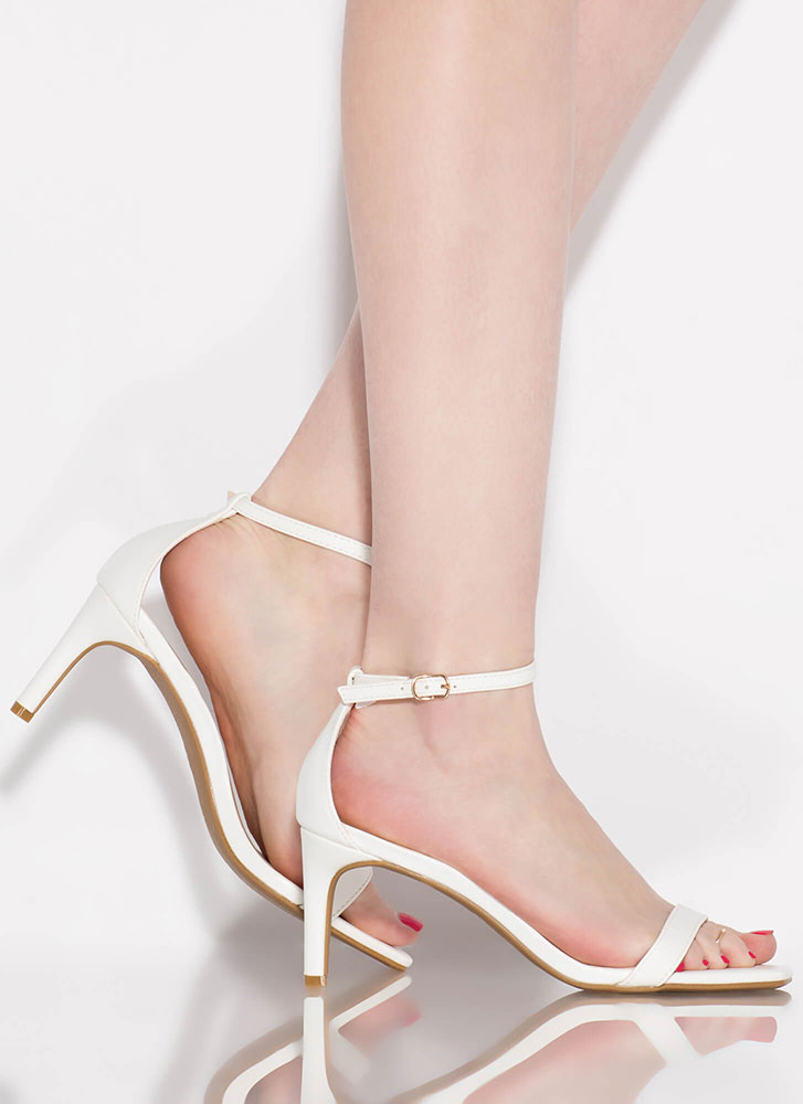 Perfect Faux Leather Ankle Strap Heels WHITE
