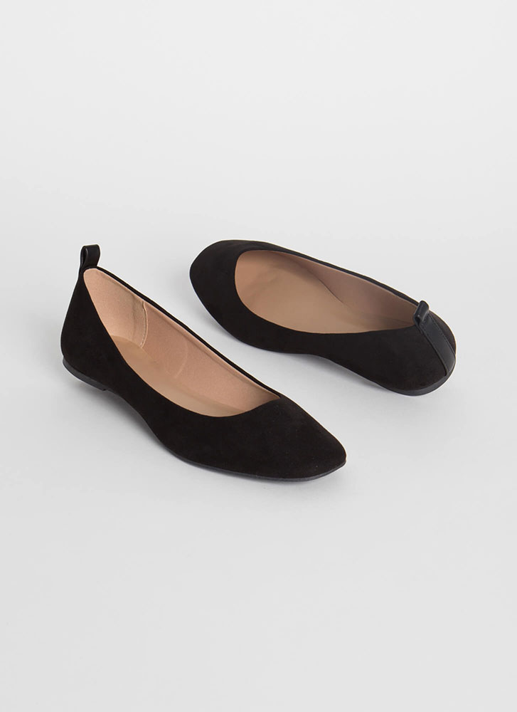 Stay Cute Faux Suede Ballet Flats BLACK