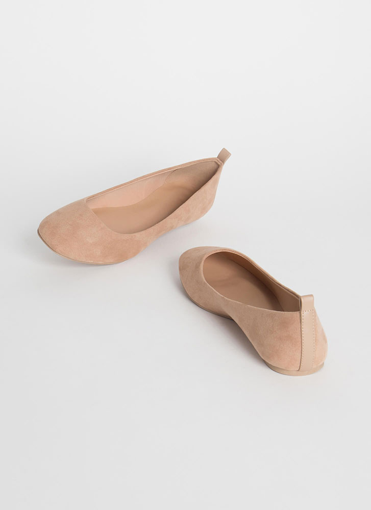 Stay Cute Faux Suede Ballet Flats TAUPE