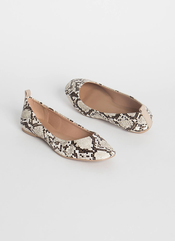 Stay Cute Faux Snake Ballet Flats IVORY