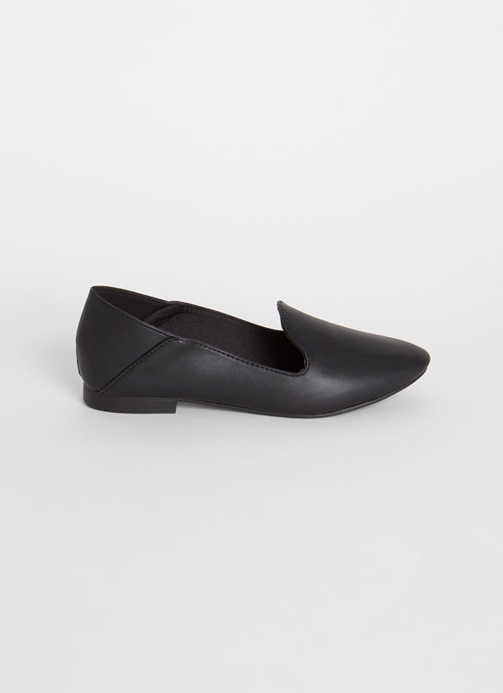 Serious Chic Faux Leather Smoking Flats BLACK