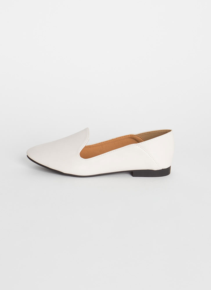 Serious Chic Faux Leather Smoking Flats OFFWHITE