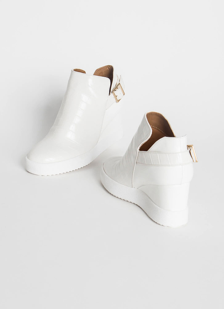 In A While Crocodile Wedge Booties WHITE