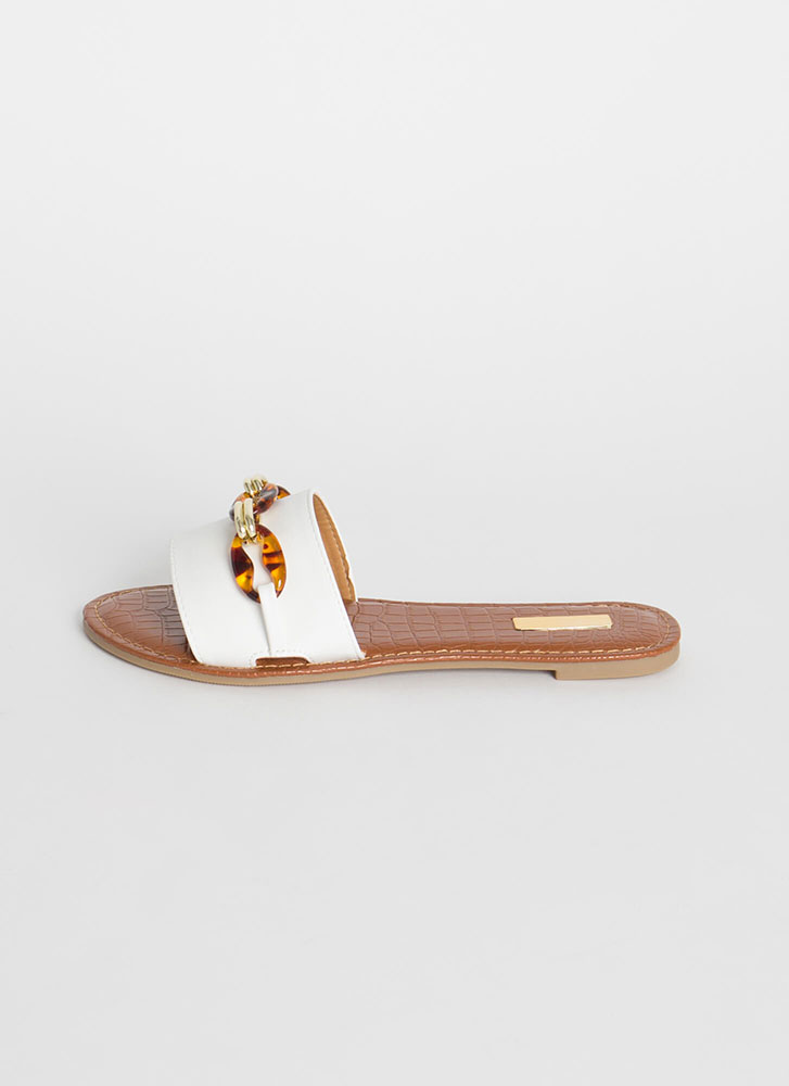 Form A Chain Faux Leather Slide Sandals WHITE