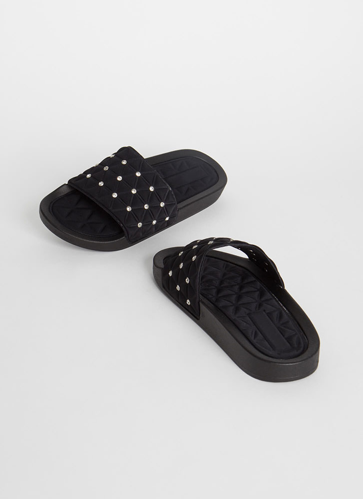Quilty Conscience Jeweled Slide Sandals BLACK