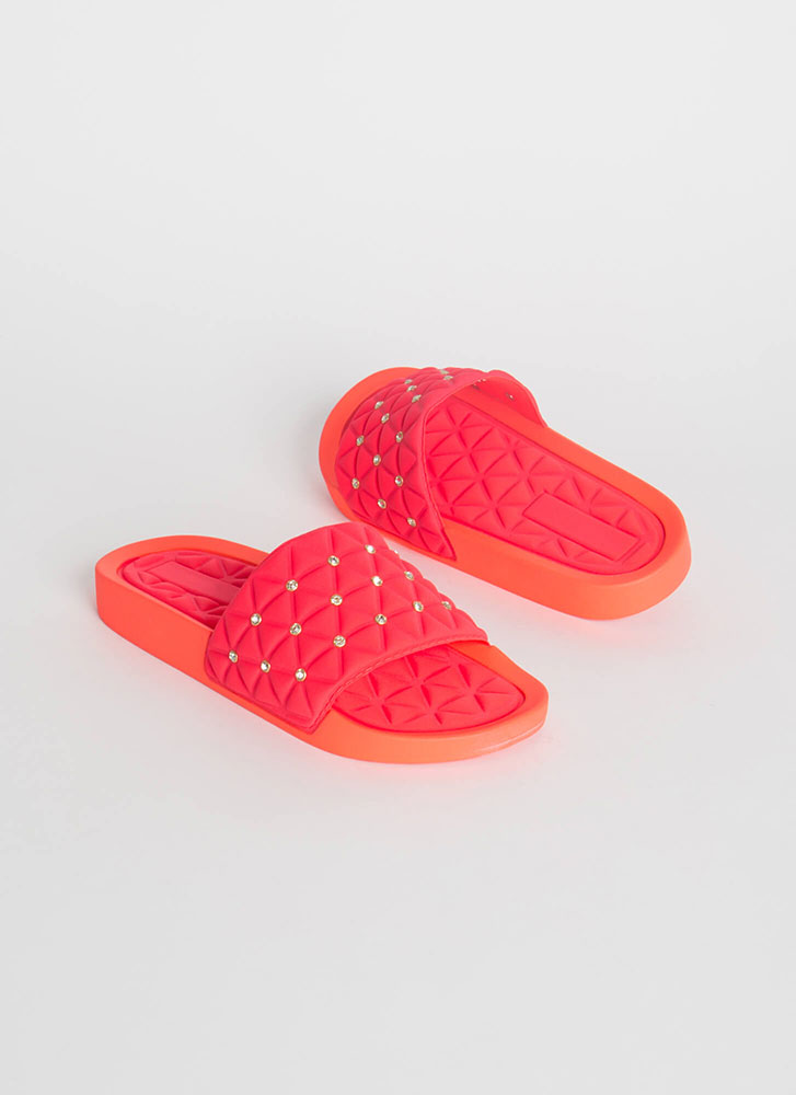 Quilty Conscience Jeweled Slide Sandals CORAL