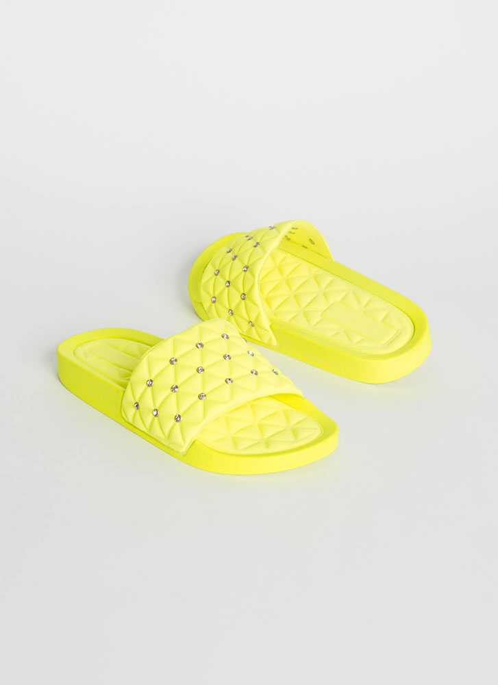 Quilty Conscience Jeweled Slide Sandals YELLOW